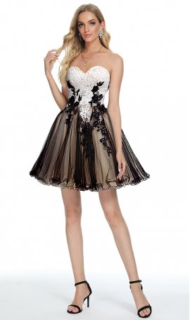 enchanting beaded tow tone embroidered lace applique short tulle cocktail prom homecoming party dress