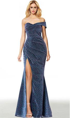 asymmetric single sleeve off the shoulder high thigh slit glitter evening dress