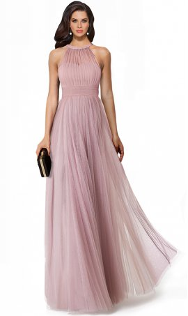 romantic pleated high neck open back tulle evening dress
