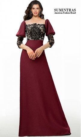 Retro Vintage Beaded Lace Applique Puff Sleeve A Line Jersey Formal Dress
