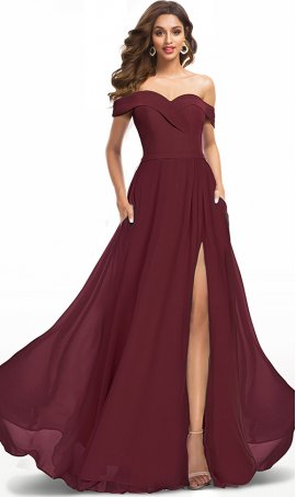 elegant off the shoulder high thigh slit chiffon dress with pockets