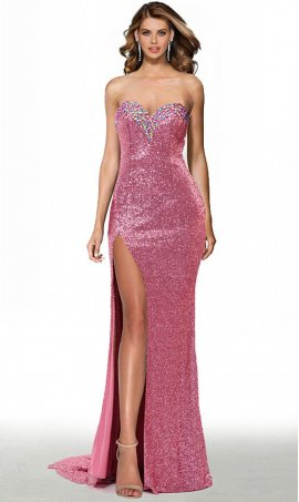 dazzling beaded sweetheart high thigh slit sequin prom formal evening pageant gown dress