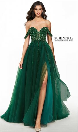 dazzling off the shoulder sweetheart sheer illusion bodice high thigh slit tulle prom dress