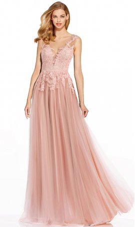 fabulous plunging v-neckline lace applique tulle prom formal evening dress
