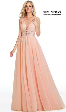 Luxurious triple beaded waist plunging neckline polka dot tulle prom dress