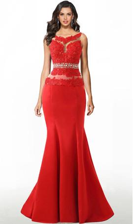 delicate beaded lace applique satin mermaid dress