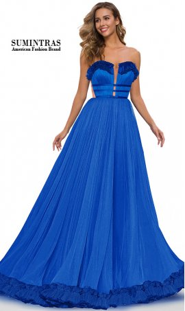 ruffled plunging sweetheart a line tulle ball gown prom dress