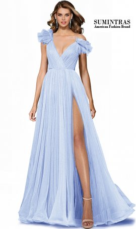 stunning ruffled tulle shoulder a line high thigh slit pleated tulle prom dress