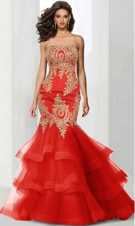 stylish beaded lace applqiue ruffles tiered tulle mermaid mermaid prom formal evening pageant Dress Gown