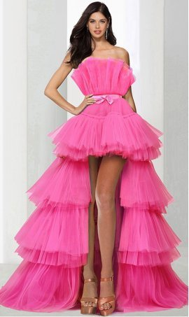 stylish ruffle bodice tiered tulle high-low hi lo ball Dress Gown prom formal evening Dress Gown