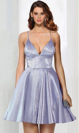 Chic trendy plunging V-neck spaghetti straps metallic glitter short prom cocktail homecoming party Dress Gown