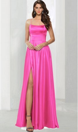 Chic Square neck satin spaghetti strap high slit split floor length lace-up back ball Dress Gown Prom Formal Evening Dress Gown