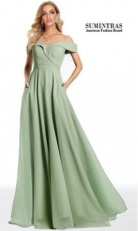 fabulous off the shoulder sweetheart a line chiffon prom formal dress with pockets