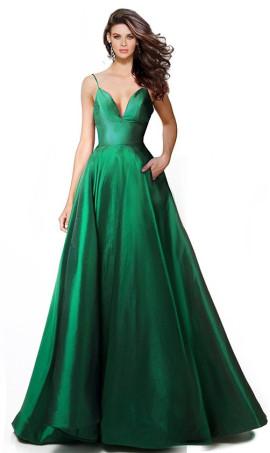 Charming deep v-neck side pockets a line taffeta ball Dress Gown Prom Formal Evening Dress Gown