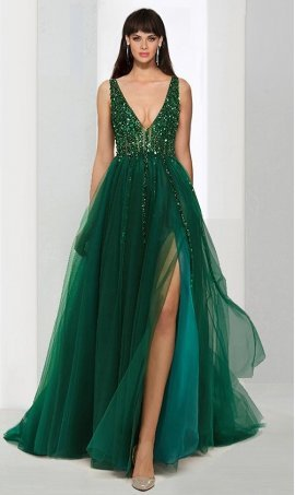 Flawless beaded plunging v-neck sheer illusion open back high thigh slit tulle long prom formal evening Dress Gown