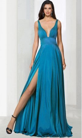 Chic jaw dropping plunging v neck high thigh slit stretch satin Dress Gown