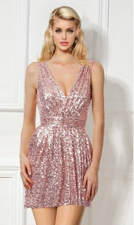 Flawless Strapless V neck Ruched waist sequins short cocktail party homecoming Dress Gown