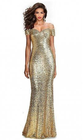 Flawless Sequined Off-The-Shoulder Sweetheart Sequin Long Formal Form Fitting Prom Evening Dress Gown